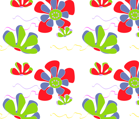 flower ocean red green blue 2 fabric by kaija on Spoonflower - custom fabric