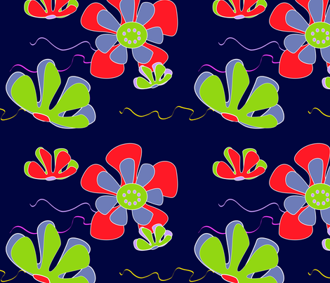 dark ocean flower fabric by kaija on Spoonflower - custom fabric