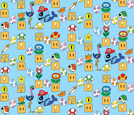 Super Mario Megamix Blue fabric by gazeofdolls on Spoonflower - custom fabric