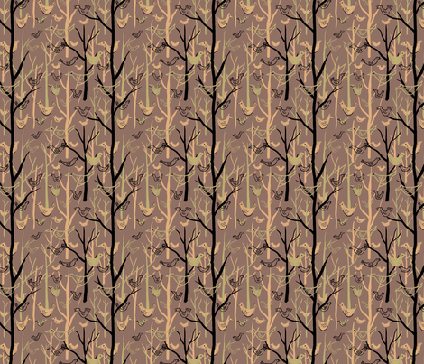 Retro Forest Birds Brown