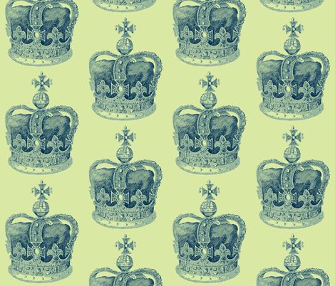 True Blue Crown  fabric by walkwithmagistudio on Spoonflower - custom fabric