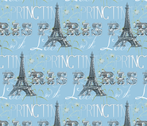 Paris in The Springtime Blue fabric by 13moons_design on Spoonflower - custom fabric