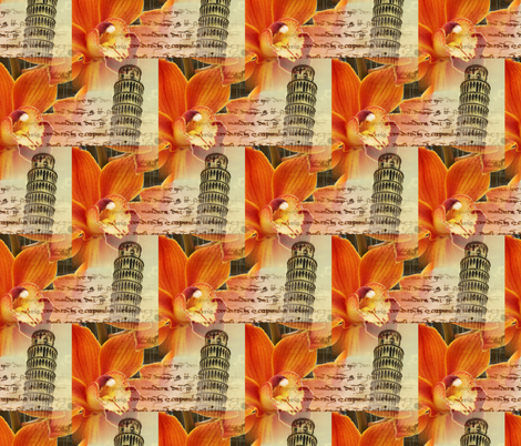 Italian Pisa Orange Orchid Fabric fabric by 13moons_design on Spoonflower - custom fabric