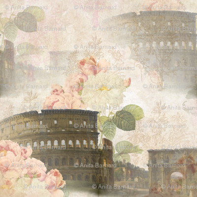 Rome Coliseum with Pink Roses