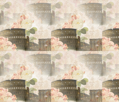 Rome Coliseum with Pink Roses fabric by 13moons_design on Spoonflower - custom fabric