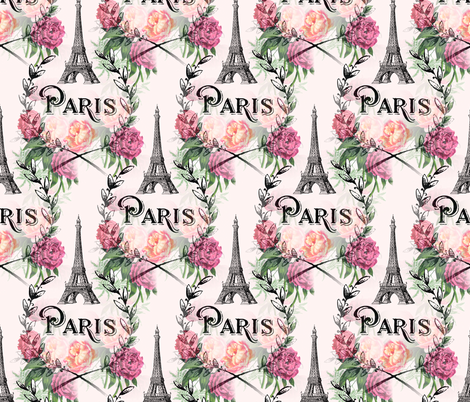 Paris Vintage Roses Pink Design fabric by 13moons_design on Spoonflower - custom fabric