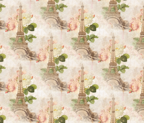 Paris Vintage Pink Roses fabric by 13moons_design on Spoonflower - custom fabric