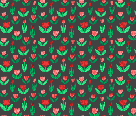 tulips on gray fabric by kristinnohe on Spoonflower - custom fabric