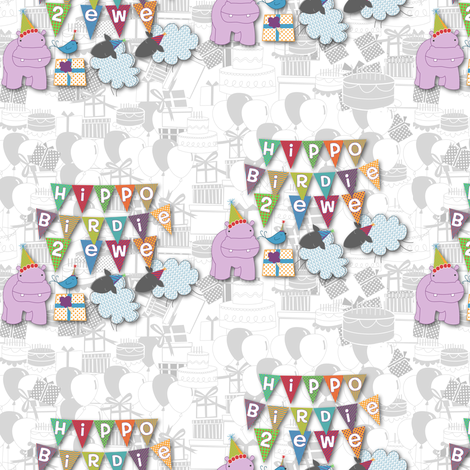 Hippo Birdie Two Ewe! (half drop repeat) fabric by meg56003 on Spoonflower - custom fabric