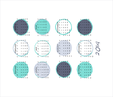 2014 Dot Calendar fabric by jennjersnap on Spoonflower - custom fabric