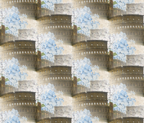 Rome Coliseum with Blue Hydrangeas fabric by 13moons_design on Spoonflower - custom fabric