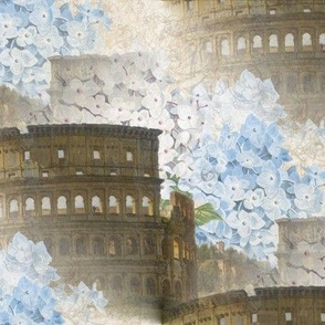 Rome Coliseum with Blue Hydrangeas