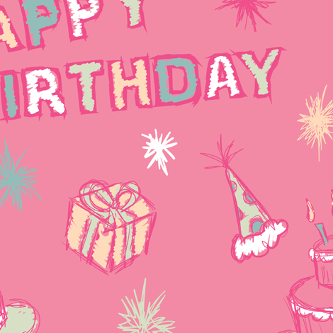 Pink Party Birthday fabric by starsania on Spoonflower - custom fabric