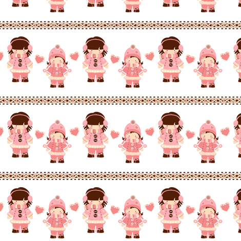 Pink Snow Sisters fabric by eppiepeppercorn on Spoonflower - custom fabric