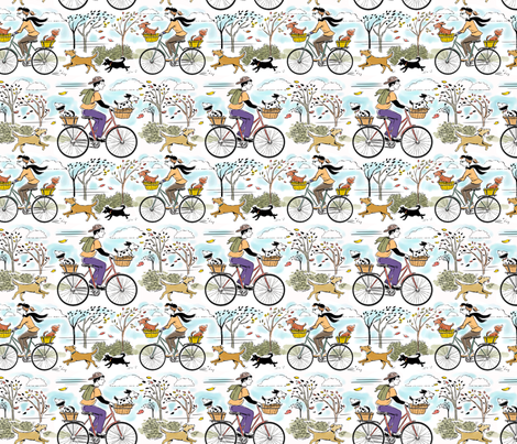 Retro Bikes and Dogs fabric by vinpauld on Spoonflower - custom fabric