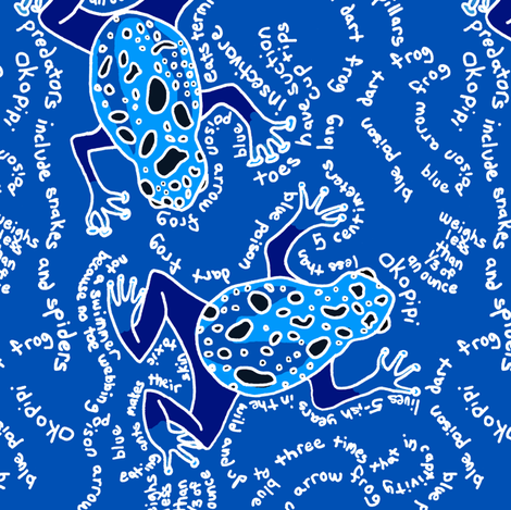 Blue Poison Dart Frog - White and Blue fabric by telden on Spoonflower - custom fabric