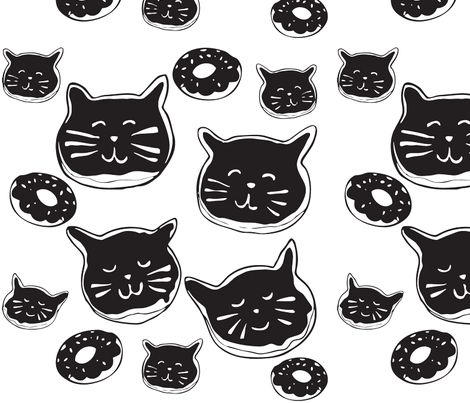 cat-doughnuts-(oreo colorway) fabric by hotdogjenny on Spoonflower - custom fabric