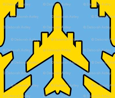 Lemon Yellow Planes on Blue Skies