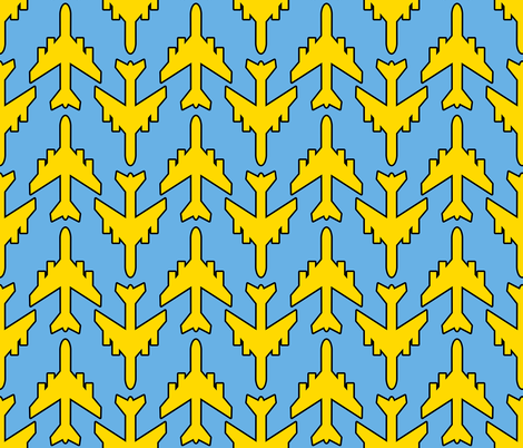 Lemon Yellow Planes on Blue Skies fabric by anniedeb on Spoonflower - custom fabric