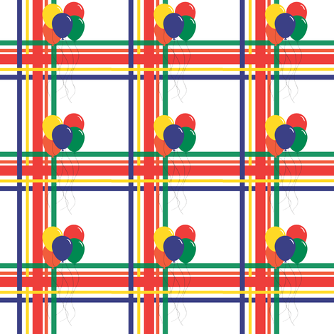 Happy Birthday Plaid with balloons fabric by empireruhl on Spoonflower - custom fabric