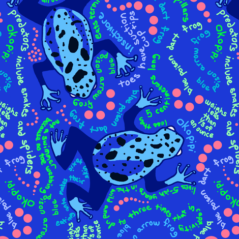 Blue Poison Dart Frog Fun Trivia fabric by telden on Spoonflower - custom fabric