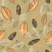Retro Orange Leaves on Tan