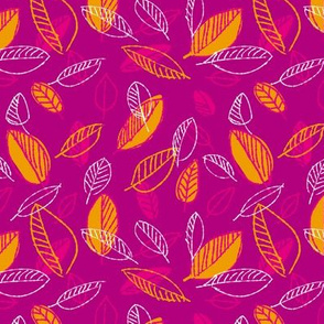 Retro Hot Pink and Yellow Leaves