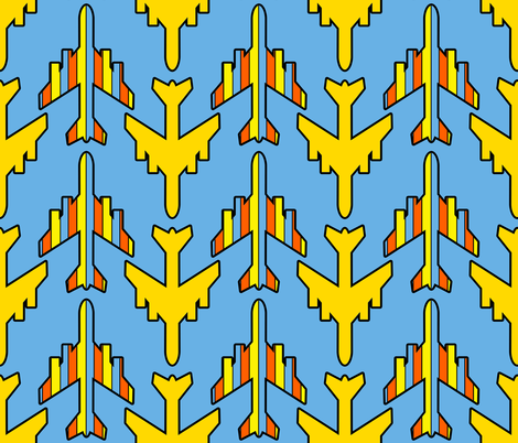 Blue Sky covered with Airplanes fabric by anniedeb on Spoonflower - custom fabric