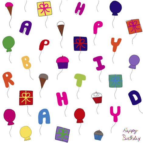 Birthday balloons fabric by wittythings on Spoonflower - custom fabric