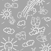 You Are My Sunshine Woodland Animals-in Grey and White
