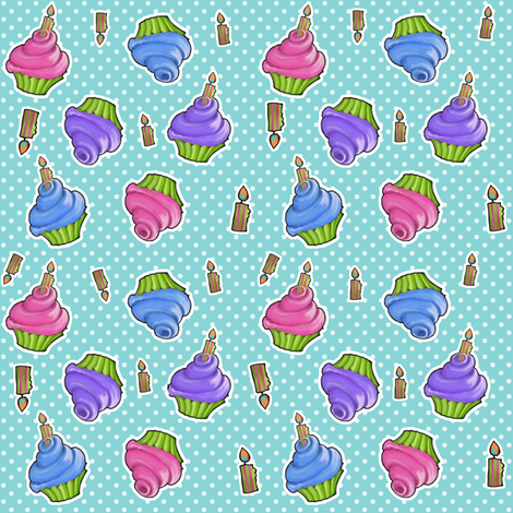 Dotty Painted Cupcakes fabric by floating_lemons on Spoonflower - custom fabric