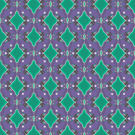 Oh yeah it`s Bitmap! green on purple fabric by sydama on Spoonflower - custom fabric