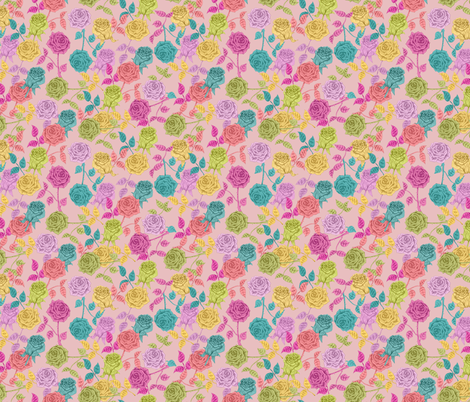 ROSES (pink) fabric by biancagreen on Spoonflower - custom fabric