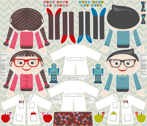 Geek Chic Lab Chick and Cool Geek Lab Dude fabric by cjldesigns on Spoonflower - custom fabric