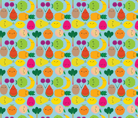 Fruit Bowl (blue) fabric by marcelinesmith on Spoonflower - custom fabric