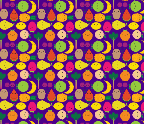 Fruit Bowl (purple) fabric by marcelinesmith on Spoonflower - custom fabric