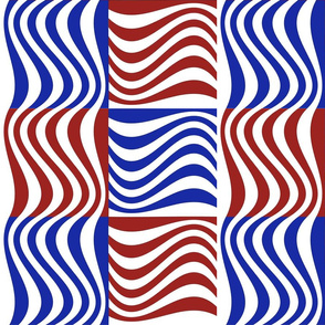 Wavy Bars Block Red White Blue