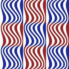 Wavy Bars Block Red White Blue 2