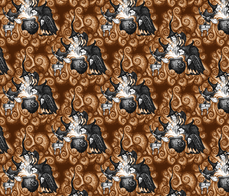 They Conjure - ochre fabric by jwitting on Spoonflower - custom fabric