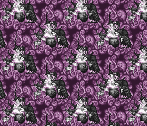 They Conjure - purple fabric by thecalvarium on Spoonflower - custom fabric