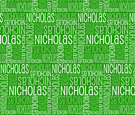 Personalised Name Fabric - Green 14