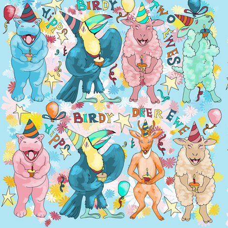 Hippo Birdy means Happy Birthday fabric by eclectic_house on Spoonflower - custom fabric