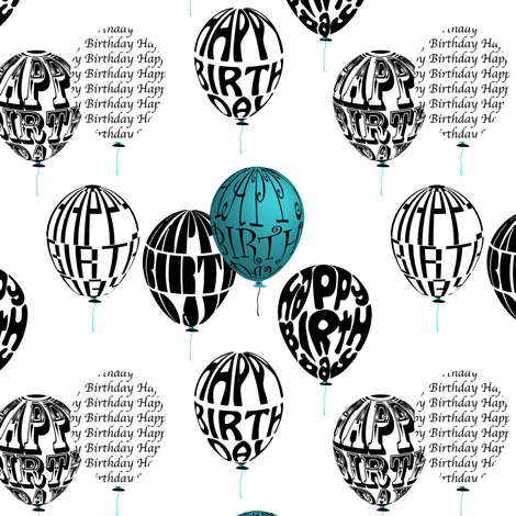 Happy Balloons Blue&White fabric by vannina on Spoonflower - custom fabric