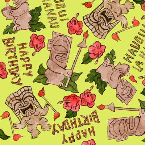 tiki birthday fabric by eric_october on Spoonflower - custom fabric