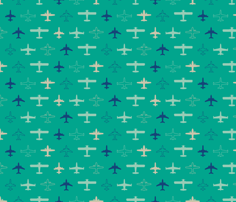 planes in emerald fabric by chantae on Spoonflower - custom fabric