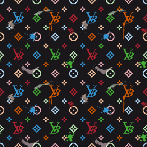 Grunge Monogramme Black fabric by vannina on Spoonflower - custom fabric