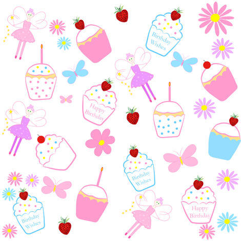 Fairy Cake Birthday Wishes fabric by de-ann_black on Spoonflower - custom fabric