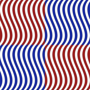 Wavy Bars Block Red White Blue 7