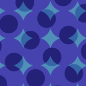 enormous halftone dots in blues