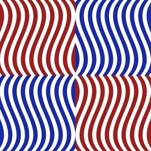 Wavy Bars Block Red White Blue 9